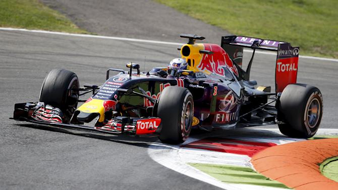 Red Bull Formula One driver Ricciardo of Australia takes a curve during the first free practice session for the Italian F1 Grand Prix in Monza