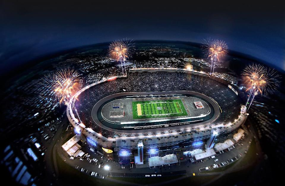 "This artist rendering provided by Bristol Motor Speedway, shows how the speedway is expected to look during a college football game in 2016. Tennessee and Virginia Tech will finally play a football game at Bristol Motor Speedway, in Bristol, Tenn., in what is being billed as the ""Battle of Bristol."" (AP Photo/Bristol Motor Speedway)"