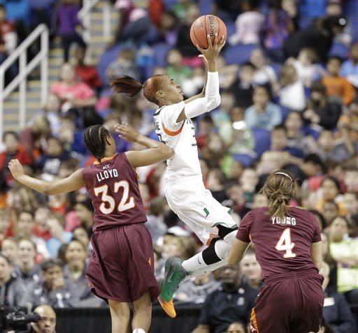 Miami women top Virginia Tech 45-39 in ACC tourney