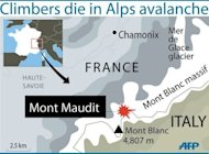 A graphic showing the Alpine mountains where nine climbers were killed in an avalanche on Thursday, July 12, 2012