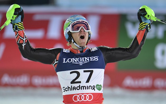 United States&#39; TedLigety reacts after the slalom portion of the men&#39;s super-combined at the Alpine skiing world championships in Schladming, Austria, Monday, Feb. 11, 2013. (AP Photo/Kerstin Joensson)