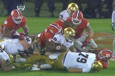 Notre Dame's game-tying two-point attempt was completely obliterated by Clemson