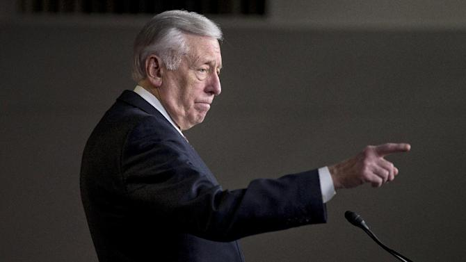House Minority Whip Rep. Steny Hoyer of Md. gestures during a news conference in Washington, Capitol Hill, Thursday, Dec. 27, 2012, where he urged House Republicans to end the pro forma session and call the House back into legislative session to negotiate a solution to the fiscal cliff.  (AP Photo/ Evan Vucci)