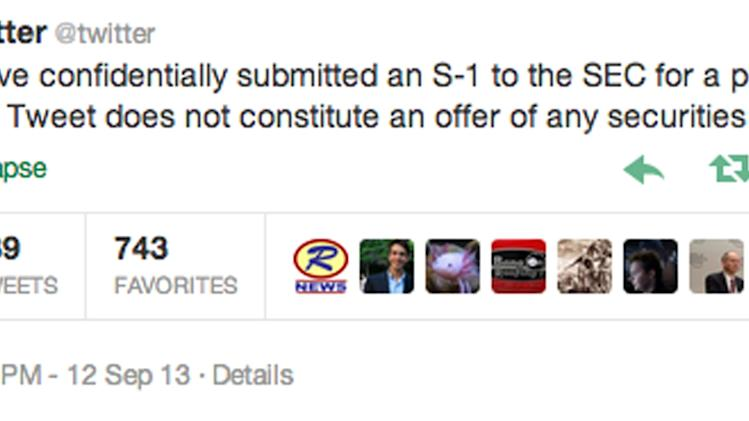 """This screenshot taken from Twitter shows the company's posting on its official account Thursday, Sept. 12, 2013, that it has """"confidentially submitted an S-1 to the SEC for a planned IPO."""" Twitter is taking advantage of federal legislation passed last year that allows companies with less than $1 billion in revenue in its last fiscal year to avoid submitting public IPO documents. (AP Photo/Twitter)"""