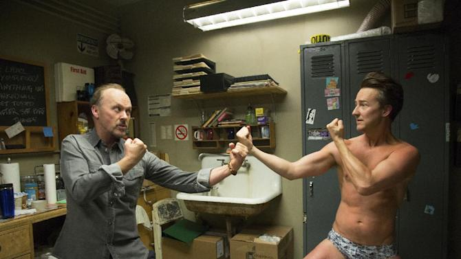 "This image released by Fox Searchlight shows Michael Keaton, left, and Edward Norton in a scene from ""Birdman."" The film will open the 71st Venice Film Festival. One of the most anticipated movies of the fall, Fox Searchlight will release ""Birdman"" in North America on Oct. 17. The Venice Film Festival runs August 27 through September 6. (AP Photo/Fox Searchlight, Alison Rosa)"
