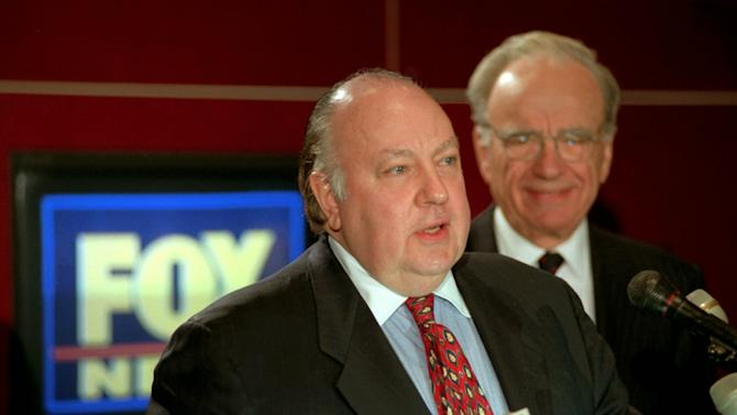 "FILE - In this Jan. 30, 1996 file photo, Roger Ailes, left, newly named chairman and CEO of News Corp.'s FOX News,  answers questions at a news conference in New York as Rupert Murdoch, Chairman and CEO of The News Corporation Limited, looks on. Propelled by Ailes' ""fair and balanced"" branding, Fox has targeted viewers who believe the other cable-news networks, and maybe even the media overall, display a liberal tilt from which Fox News delivers them with unvarnished truth. (AP Photo/Richard Drew, file)"