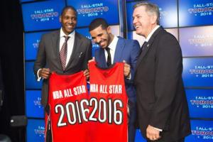 Toronto Raptors general manager Ujiri, rapper Drake, and President and CEO of Maple Leaf Sports and Entertainment Leiwekea pose after an announcement that the Raptors will host the NBA All-Star game in Toronto