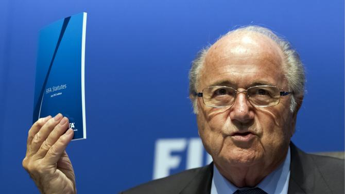 FIFA President Joseph Sepp Blatter speaks during a press conference after a meeting of the FIFA Executive Committee at the FIFA headquarters in Zurich, Switzerland, Friday, Sept. 28, 2012. Blatter has told the governing body's anti-corruption advisers to stop publicly criticizing the ruling board members of soccer's governing body.   (AP Photo/Keystone, Alessandro Della Bella)