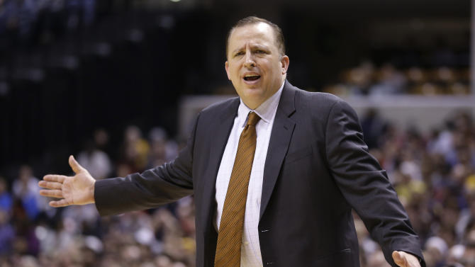 Chicago Bulls coach Tom Thibodeau questions the lack of a call against the Indiana Pacers in the second half of an NBA basketball game in Indianapolis, Monday, Feb. 4, 2013. The Pacers defeated the Bulls 111-101. (AP Photo/Michael Conroy)