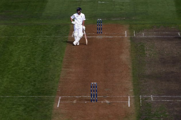 England's Trott stands alone at the wicket during the second day of the first test against New Zealand at the University Oval in Dunedin