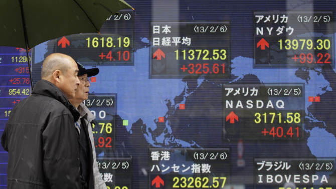 Men walk past an electronic stock indicator of a securities firm in Tokyo, Wednesday, Feb. 6, 2013. Shares were mostly higher in Asia early Wednesday, tracking gains in the U.S. and Europe, as the Japanese yen pushed sharply higher. The Nikkei 225 stock index gained 3 percent, or 329.98, to 11,376.90 as exporters shares soared on expectations of stronger sales thanks to the yen's gains against other major currencies. (AP Photo/Shizuo Kambayashi)