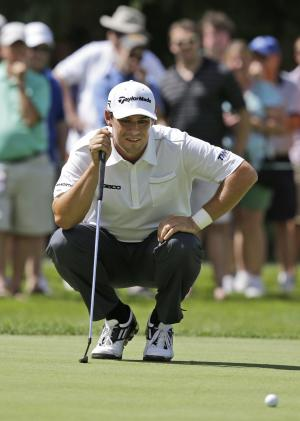 Johnson Wagner lines up a putt on the 10th hole during the third round of the Greenbrier Classic PGA golf tournament in White Sulphur Springs, W.Va., Saturday, July 6, 2013. (AP Photo/Steve Helber)