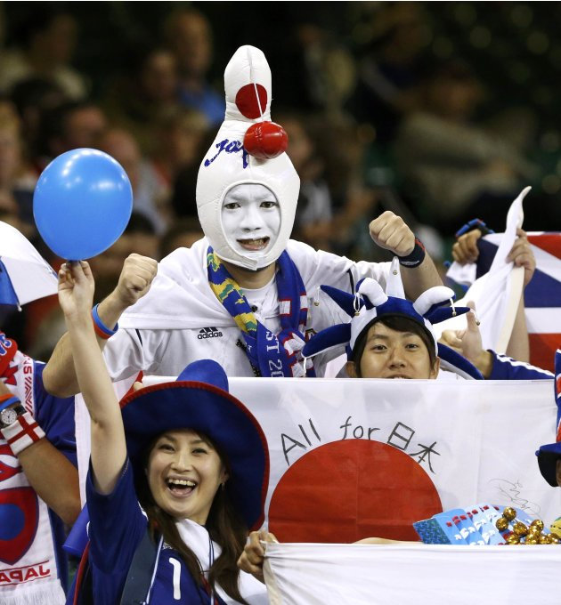 Japanese fans before the matchup against Brazil in their women's quarter final soccer match at the London 2012 Olympic Games at Millennium Stadium in Cardiff