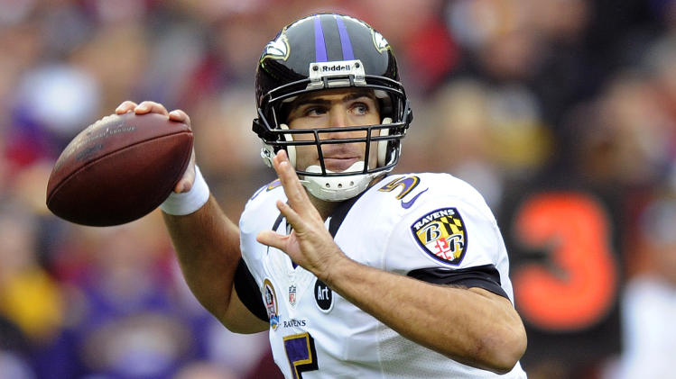 Baltimore Ravens quarterback Joe Flacco passes the ball during the first half of an NFL football game against the Washington Redskins in Landover, Md., Sunday, Dec. 9, 2012. (AP Photo/Nick Wass)