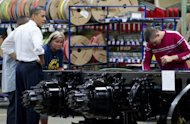 "US President Barack Obama tours a plant in, North Carolina. As the US candidates battle it out in the final weeks of the campaign another showdown looms, with the world's largest economy coasting towards a potentially disastrous ""fiscal cliff."""