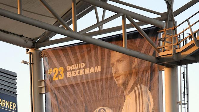 CARSON, CA - NOVEMBER 08: A banner of David Beckham #23 of the Los Angeles Galaxy is seen at The Home Depot Center prior to Game 2 of the MLS Western Conference Semifinals match on November 8, 2009 in Carson, California. The Galaxy defeated Chivas USA, 1-0, to advance to the MLS Western Conference Finals. (Photo by Kevork Djansezian/Getty Images)