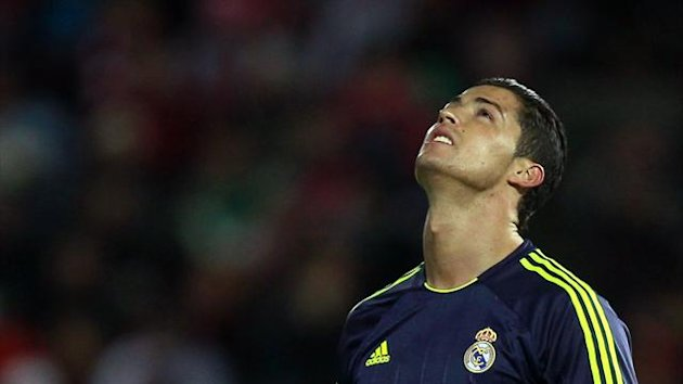Real Madrid&#39;s Cristiano Ronaldo reacts during their Spanish First Division match against Granada at Los Carmenes stadium in Granada