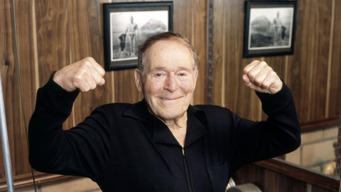 FILE - This undated file image provided by Ariel Hankin shows fitness pioneer Jack LaLanne. LaLanne, the fitness guru who inspired television viewers to trim down and pump iron for decades before exercise became a national obsession, died Sunday, Jan. 23, 2011. He was 96. (AP Photo/Ariel Hankin, File) NO SALES