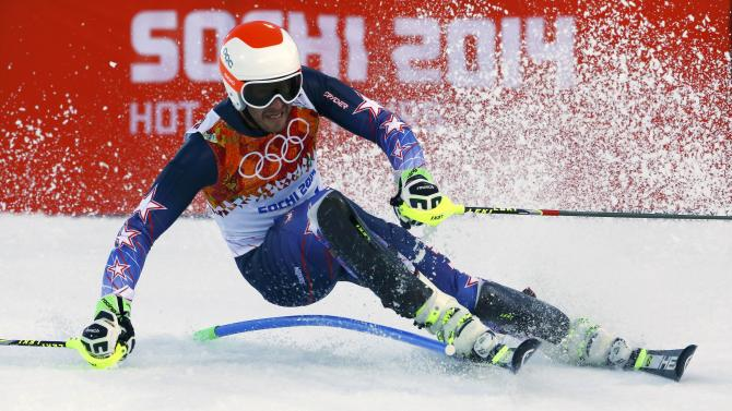 Miller of the U.S. skis during the slalom run of the men's alpine skiing super combined event at the 2014 Sochi Winter Olympics