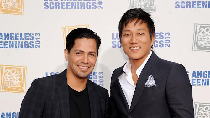 Jay Hernandez, left, and Sung Kang arrive at Twentieth Century Fox Television Distribution's 2013 LA Screenings Lot Party on Thursday, May 23, 2013 in Los Angeles, California. (Photo by Frank Micelotts/Invision for Twentieth Century Fox Television/AP Images)
