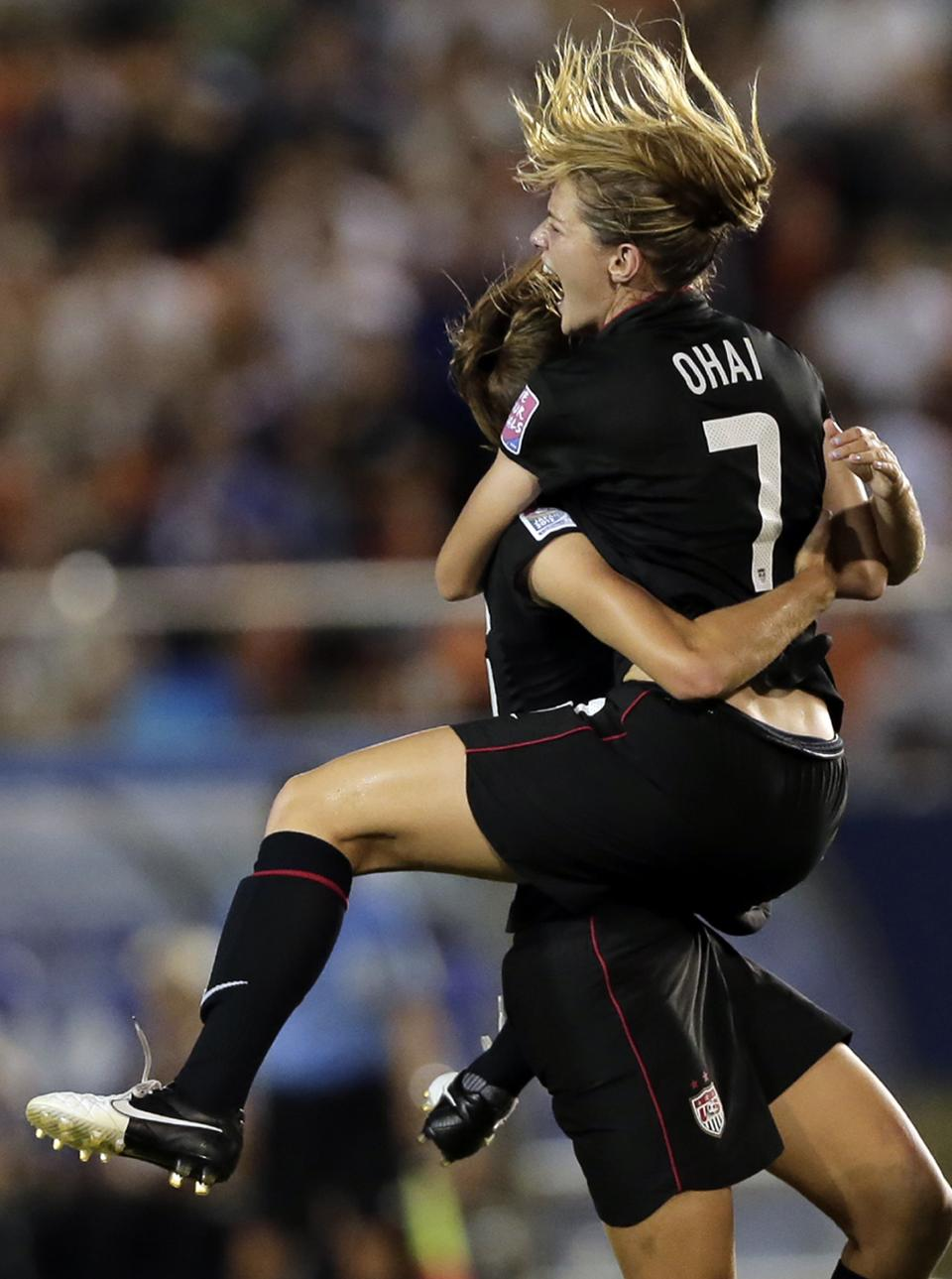 Kealia Ohai (7) of the United States celebrates after scoring a goal against Germany during their final match of U20 women's World Cup in Tokyo, Saturday, Sept. 8, 2012. (AP Photo/Itsuo Inouye)