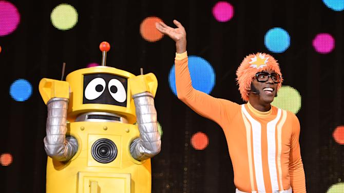DJ Lance Rock and the cast of Yo Gabba Gabba! perform on stage at Yo Gabba Gabba! LIVE! Music Is Awesome! at the Shrine Auditorium on Saturday November 22, 2014, in Los Angeles. (Photo by John Shearer/Invision for DHX Media/AP Images)