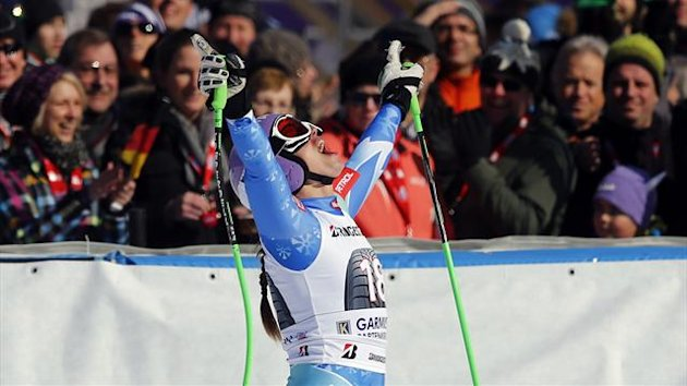 Slovenia's Tina Maze celebrates after the women's Alpine Skiing World Cup Downhill race in Garmisch-Partenkirchen (Reuters)