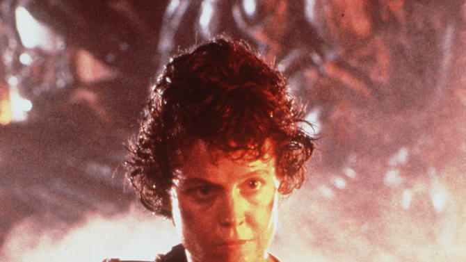 """FILE- In this 1986 file photo originally released by 20th Century Fox, Sigourney Weaver is shown in a scene from the movie """"Aliens."""" (AP Photo/20th Century Fox, file)"""