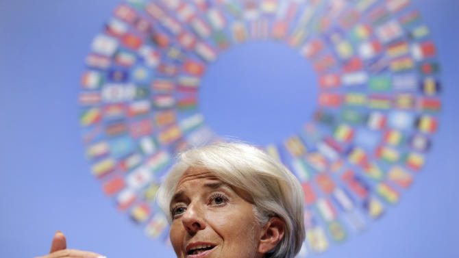 IMF Managing Director Christine Lagarde speaks during a news conference at the annual meetings of the IMF and World Bank Group in Tokyo, Saturday, Oct. 13, 2012. (AP Photo/Itsuo Inouye)
