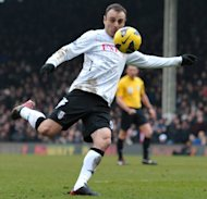 Fulham striker Dimitar Berbatov lashes in a volley against Stoke City at Craven Cottage on February 23, 2013 to give his side a 1-0 win. Victory for the Londoners lifted Martin Jol&#39;s men to 11th place in the table