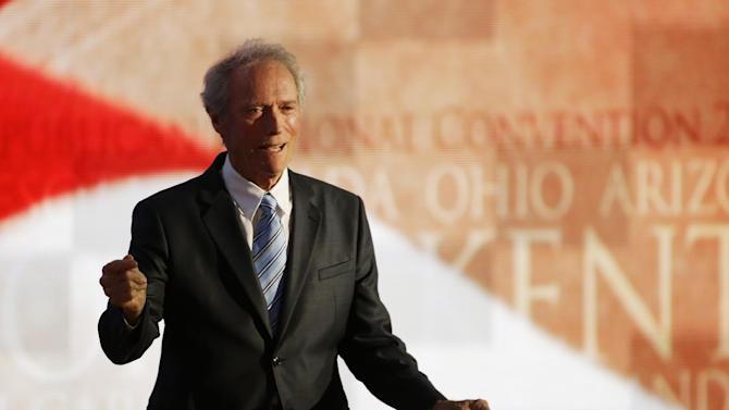 Actor Clint Eastwood leaves the stage after speaking to delegates during the Republican National Convention in Tampa, Fla., on Thursday, Aug. 30, 2012.  (AP Photo/Charlie Neibergall)