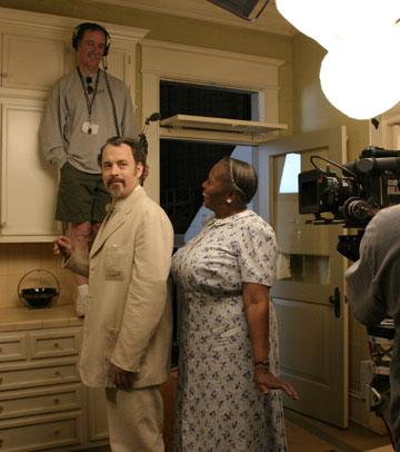 Tom Hanks and Irma P. Hall on the set of Touchstone Pictures' The Ladykillers