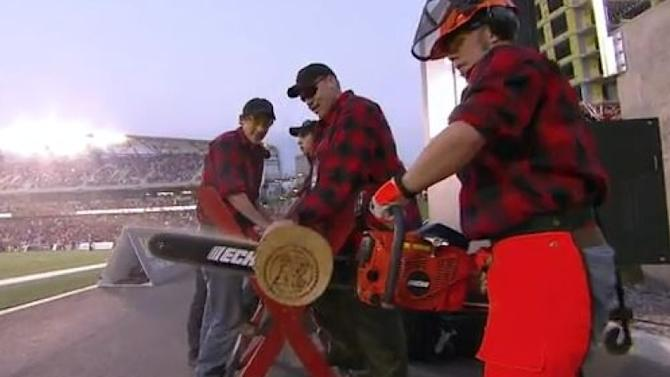 CFL bans Ottawa Redblacks chainsaw squad from sawing logs at 103rd Grey Cup in Winnipeg