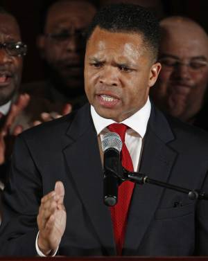 FILE - In this March 20, 2012 file photo, U.S. Rep. Jesse Jackson Jr., D-Ill., thanks supporters at his primary election night party in Chicago. Jackson has been on medical leave for exhaustion for several weeks and Monday, July 9, 2012, Illinois Sen. Dick Durbin said Jackson has a responsibility to tell the public about his medical condition and his whereabouts. Jackson's staff didn't disclose the fact about the leave right away and then reported July 5 that he was in an inpatient facility battling physical and emotional problems worse than initially thought. (AP Photo/M. Spencer Green, File)
