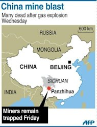 Map showing Panzhihua in China's Sichuan province where 10 miners remain trapped underground after a blast on Wednesday that killed 37