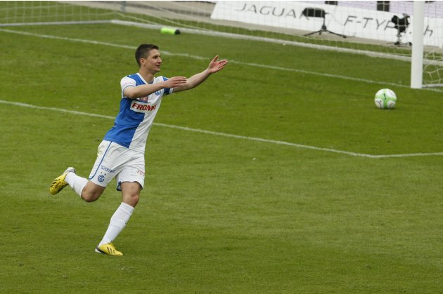 Grasshopper's Vilotic celebrates after scoring penalty to win Swiss Cup final soccer match against FC Basel  in Bern