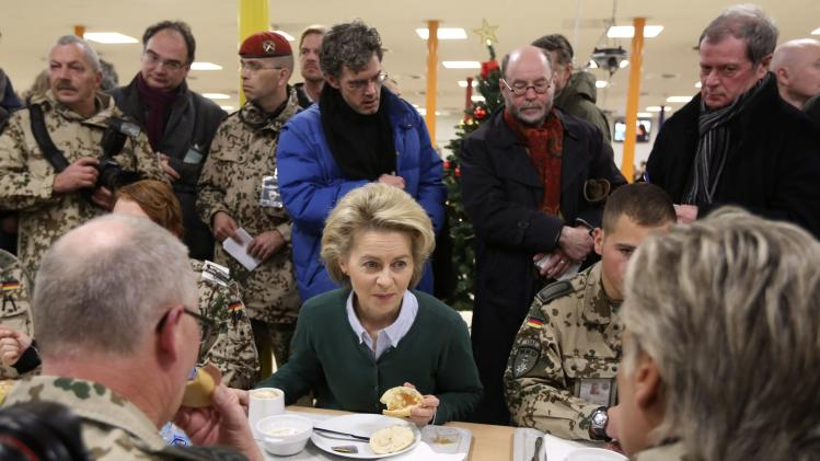 German Defence Minister Ursula von der Leyen has breakfast with German troops in Mazar-i-Sharif,