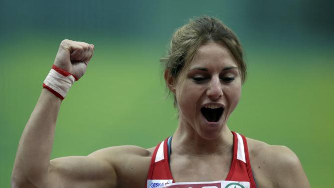 Klucinova of the Czech Republic reacts after competing in the women's pentathlon shot put event during the IAAF European Indoor Championships in Prague