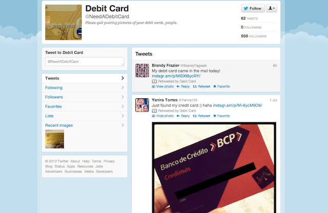 Calling All Thieves: Twitter Account Retweets Debit Card Pics
