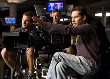 Director Bryan Singer on the set of Warner Bros. Pictures' Superman Returns
