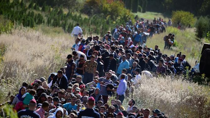 Migrants walk through the Hungarian countryside after crossing the border with Croatia on September 21, 2015