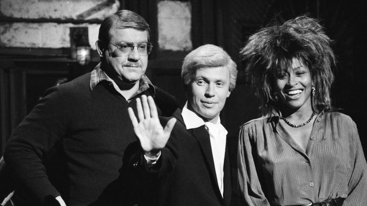 "FILE - In this Jan. 31, 1985, file photo, ""Saturday Night Live"" actor Billy Crystal, center, in character as ""Fernando,"" is flanked by host Alex Karras, left, and musical guest Tina Turner during a rehearsal in New York. Karras is taking on the role of lead plaintiff: He and his wife, Susan Clark, are two of 119 people who filed suit Thursday, April 12, 2012, in U.S. District Court in Philadelphia, the latest complaint brought against the NFL by ex-players who say the league didn't do enough to protect them from head injuries. (AP Photo/Marty Lederhandler, File)"
