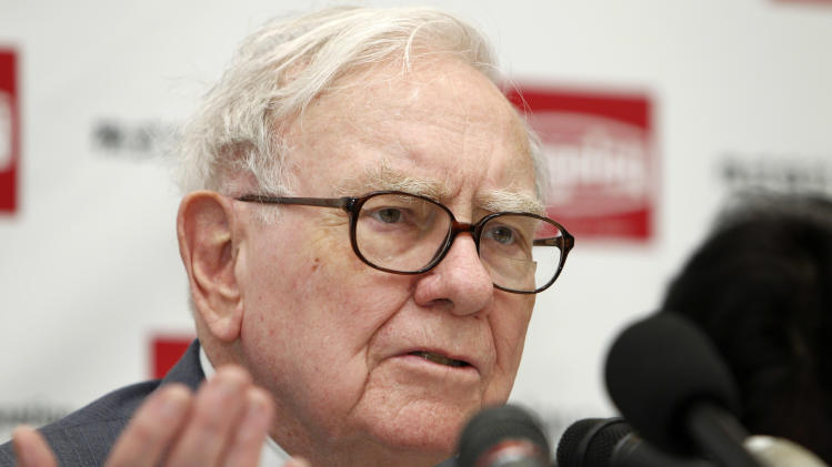US billionaire investor Warren Buffett, chairman and CEO of Berkshire Hathaway, speaks during a press conference at the headquarters of cemented carbide tool supplier Tungaloy Corporation after inaugurating its new factory in Iwaki city, Fukushima prefecture, northern Japan, Monday, Nov. 21, 2011. Buffett's visit to Tungaloy Corporation, one of his investments, was originally scheduled in March this year, was delayed due to the earthquake and tsunami. (AP Photo/Shuji Kajiyama)