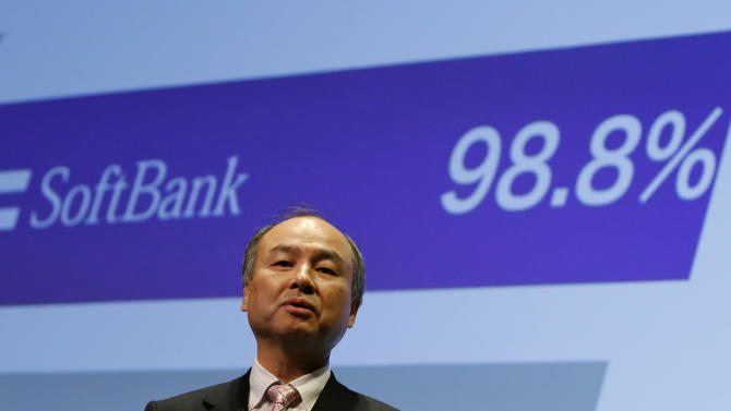 Masayoshi Son, SoftBank's chairman and chief executive officer, speaks during a presentation of company results in Tokyo