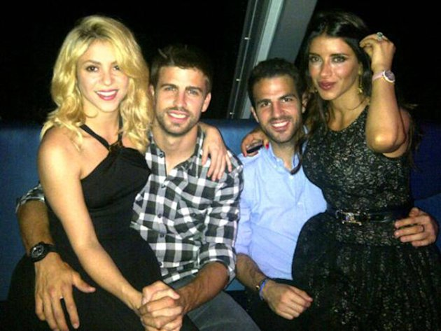 Gerard Piqueposed this image on Twitter of himself with Shakira, Cesc F�bregas and Daniella Semaan  with the caption 'Enjoying a great night!'Credit: Gerard Pique/TwitterSupplied by WENN.com(W