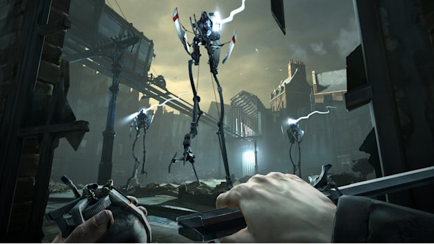 "FILE - This video game image released by Bethesda Softworks shows a scene from ""Dishonored.""  A pair of assassins, a horde of zombies and an intergalactic commander are facing off against a scarf-clad"
