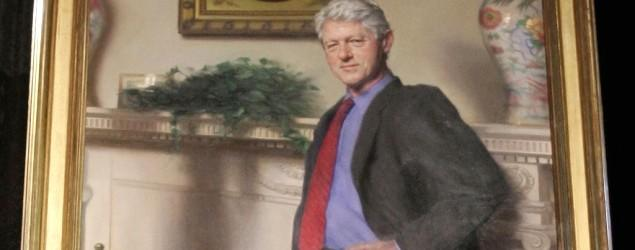 Bill Clinton's portrait includes shadow of blue dress