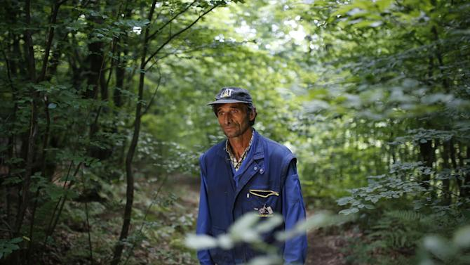 In this photo taken on Thursday, June 25, 2015, Bosnian Ramiz Nukic searches the woods on a hill above his house, in the village of Kamenice, near Srebrenica, 150 kms northeast of Sarajevo looking for human remains. There's rarely a day in which Nukic does not find the remains of at least one murdered boy or man, even 20 years after the Europe's worst massacre since World War II.  Srebrenica's killing fields swallowed up 8,000 bodies, and the murderers took pains to hide evidence of the genocide.  (AP Photo/Amel Emric)