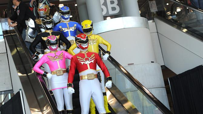 Saban's Power Rangers Megaforce head home after a MEGA day at the American International Toy Fair, Sunday, Feb. 10, 2013, in New York.  Saban Brands is celebrating the 20th anniversary of the Power Rangers franchise this week at the show. (Diane Bondareff/Invision for Saban Brands/AP Images)