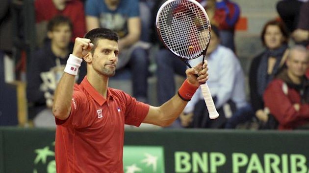 Novak Djokovic of Serbia reacts after winning his world group first round match in the Davis Cup tennis tournament against Olivier Rochus of Belgium in Charleroi February 1, 2013. (Reuters)